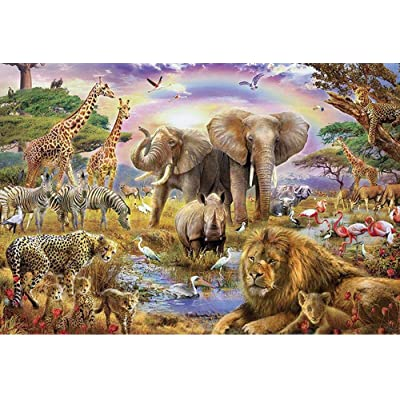 1000 Pieces African Animal Puzzle Wooden Jungle Scene African Beasts Jigsaw Puzzle for Adults: Toys & Games