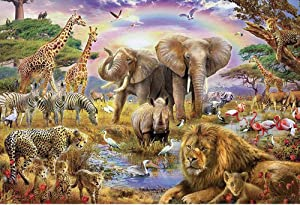 1000 Pieces Puzzles Challenging Jigsaw Puzzles Floor Puzzle Animal Puzzle for Adults Kids Intellectual Game Learning Education Decompression Toys