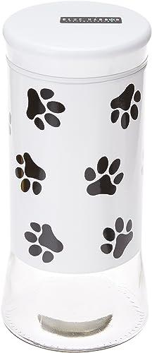 Housewares International 9-1 4-Inch Glass Pet Treats And Snacks Storage Jar, White Background