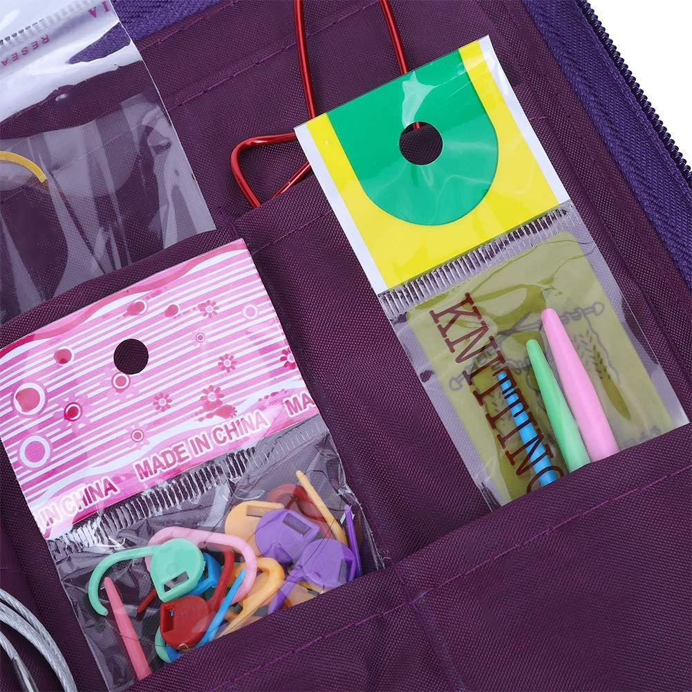 Yosoo 104pcs Knitting Kit Stainless Steel Straight Circular Knitting Needles Crochet Hook Needlework Weave Set Hand Tool Accessorieswith Pu Bag by Yosoo (Image #8)