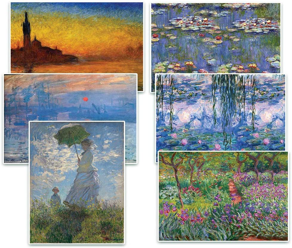 Creanoso Claude Monet Famous Paintings Posters (12-Pack) – Great Artist Gifts Collection Bulk Set – Unique Stocking Stuffers for Office Workers Teachers Employees Men Women – Home Decor