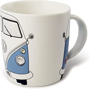 BRISA VW Collection - Volkswagen Samba Bus T1 Camper Van Coffee Mug, Tea Cup for Kitchen, Garage, Office - Camping Equipment/Gift-Idea/Souvenir (Design: Front/Blue/White)