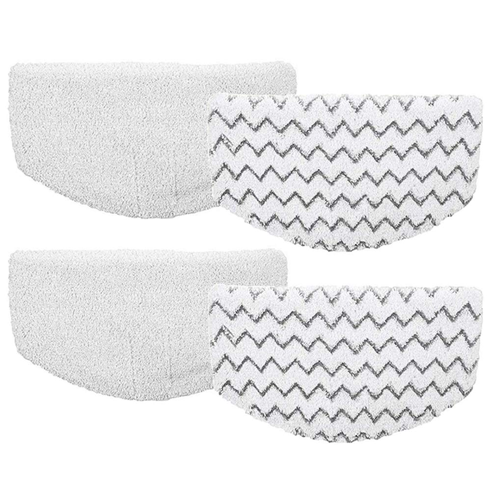 4Pcs Bissell Powerfresh Steam Mop Pads Microfiber Replacement Duster Pads for Bissell Powerfresh 1940 Series, 1544A, 2075A, 1440, 1940W, 19404, 1806, 1940A, 5938, 19408, 1940Q (Zigzags & White) by Turbokey
