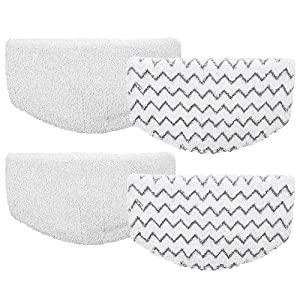 4Pcs Bissell Powerfresh Steam Mop Pads Microfiber Replacement Duster Pads for Bissell Powerfresh 1940 Series, 1544A, 2075A, 1440, 1940W, 19404, 1806, 1940A, 5938, 19408, 1940Q (Zigzags & White)