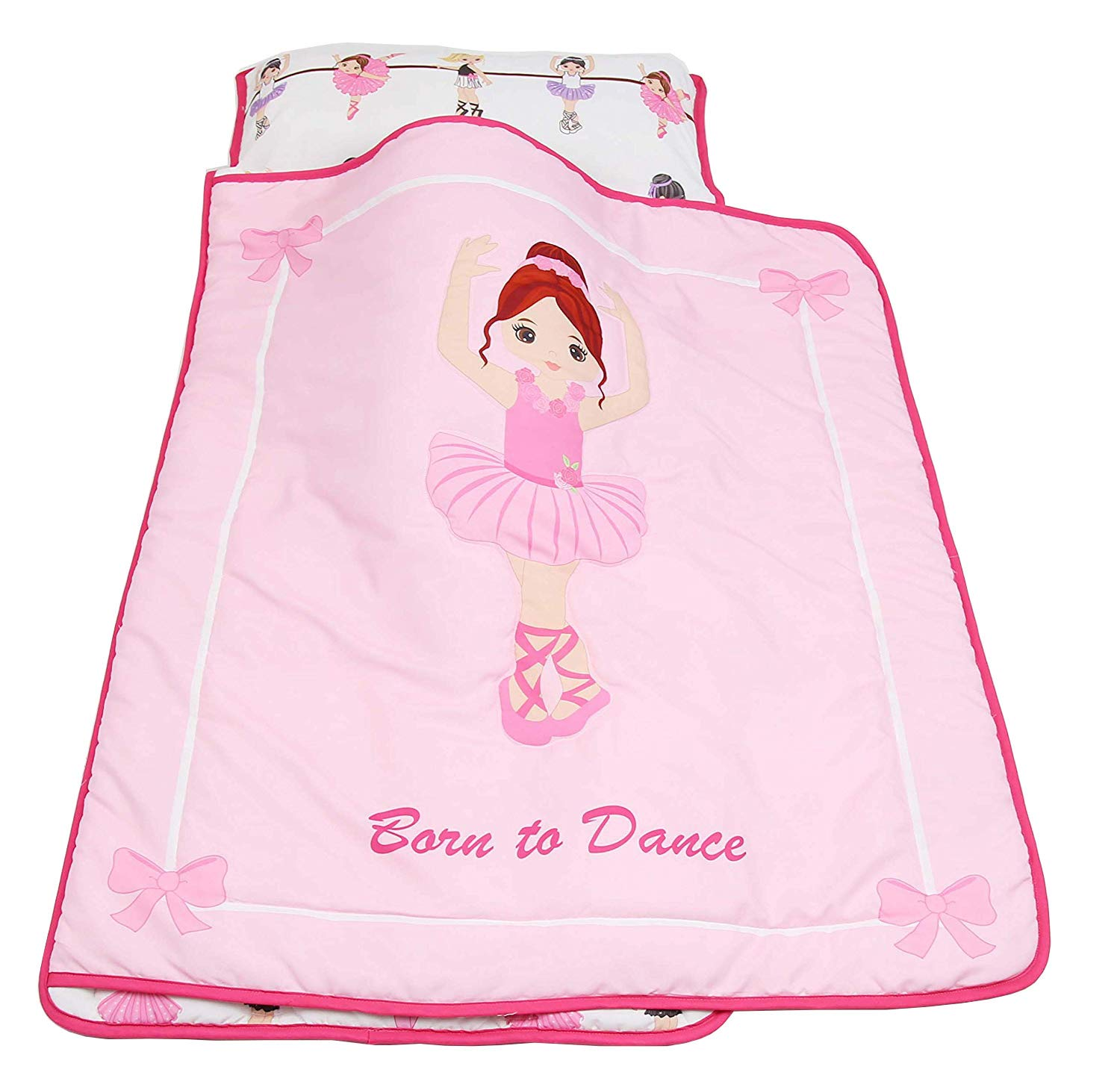 Everyday Kids Toddler Nap Mat with Removable Pillow -Born to Dance Ballerina- Carry Handle with Straps Closure, Rollup Design, Soft Microfiber for Preschool, Daycare, Kindergarten Sleeping Bag