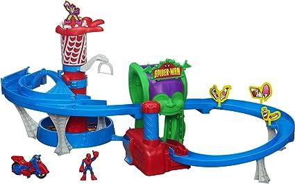 Funhouse Track Set Playskool Marvel Super Hero Adventures SPIDER-MAN of Crane