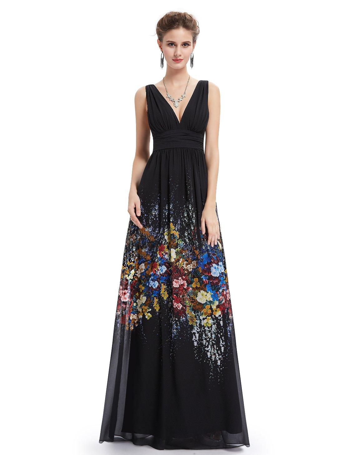 Ever-Pretty Womens Floor Length Spring Summer Wedding Guest Dress 14 US Black