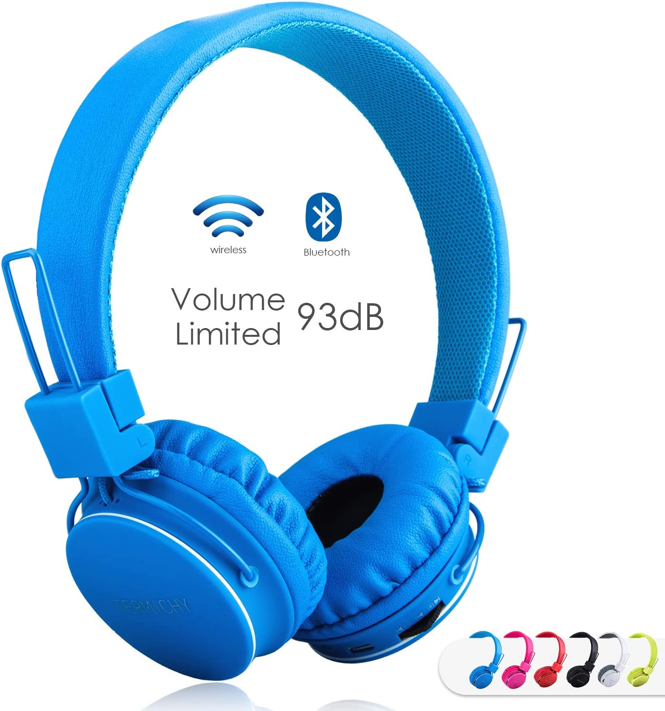 Kids Bluetooth Headphones Foldable Volume Limiting Wireless Wired Stereo On Ear HD Headset with SD Card FM Radio in-line Volume Control Microphone for Children Adults Blue