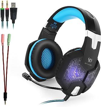 KOTION EACH G1000 Auriculares Gaming PS4 para Jueguos Cascos Gaming de Estéreo con Micrófono y Gaming Headset con 3.5mm Jack Luz LED para PC/Xbox One/Nintendo Switch/Móvil (Negro+Azul): Amazon.es: Electrónica