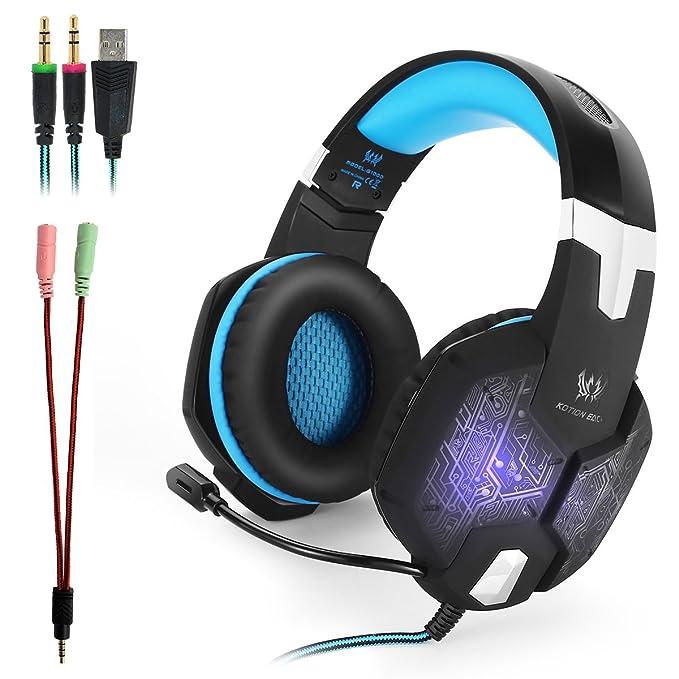 KOTION EACH G1000 Professional PC Stereo Gaming Headset 3,5mm + USB Kopfhörer Einklappbares Headband mit Mikrofon Geräuschiso