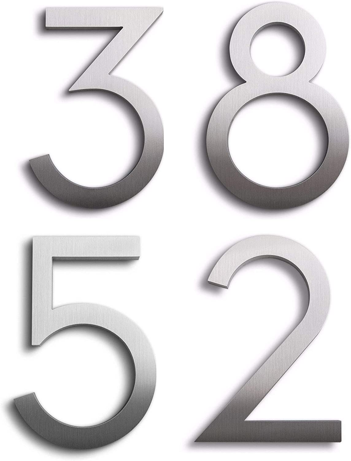 """0 1 2 3 4 5 6 7 8 9 A B 3/"""" Chrome House Number Front Door Buildings Numeral"""