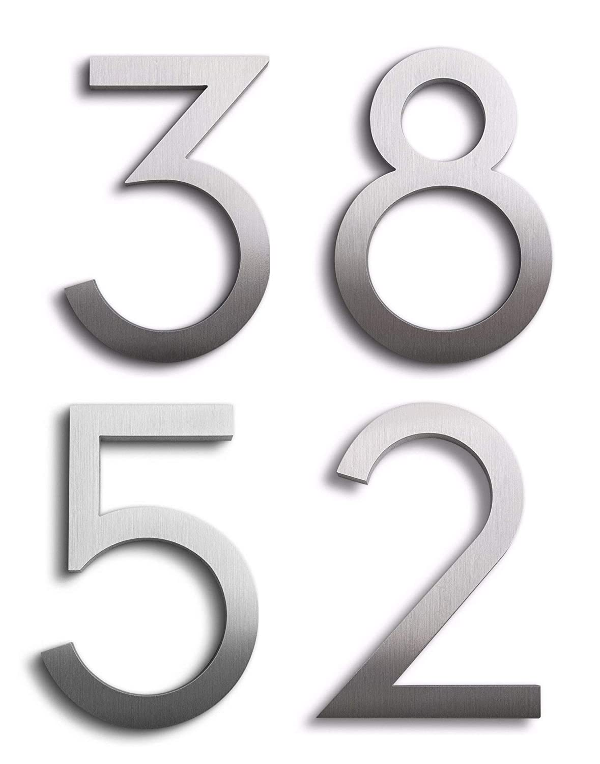 Amazon com modern house numbers aluminum modern font set of four 6 inch numbers address plaques garden outdoor