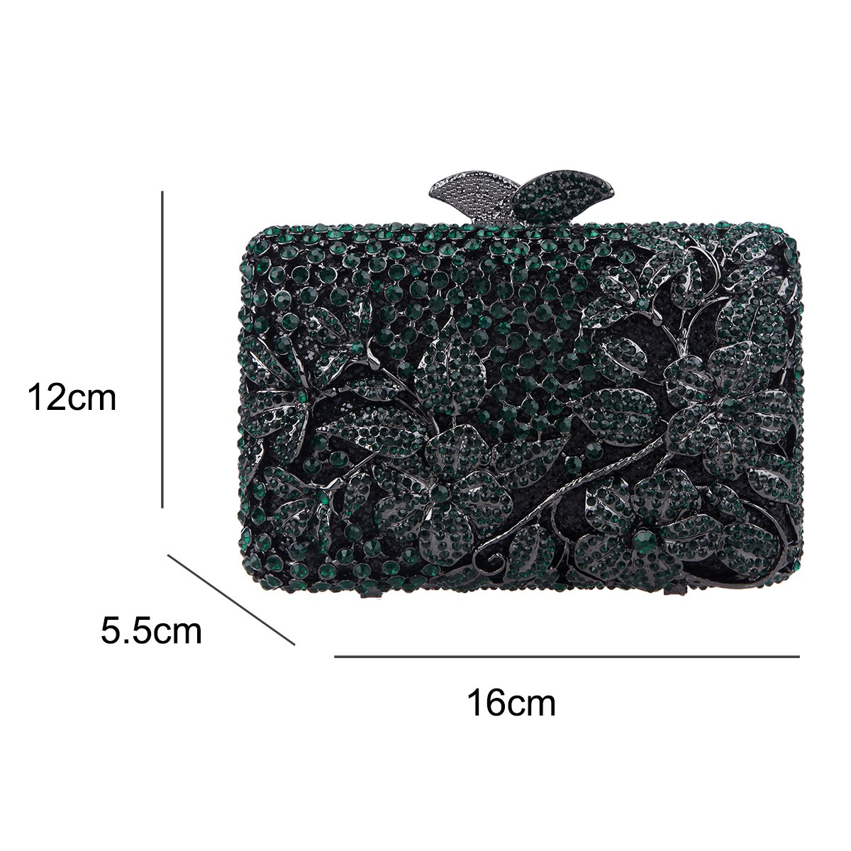 Fawziya Kisslock Flower Purses With Rhinestones Crystal Clutch Evening Bag