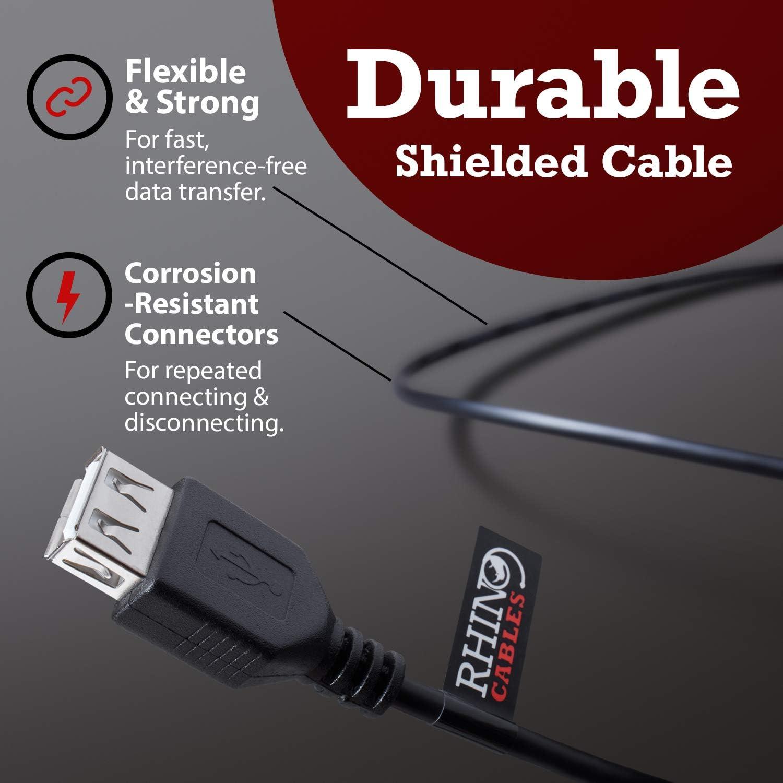 Cable alargador USB 2.0, macho A a hembra A, 1 m en color negro de Rhinocables 1.8m