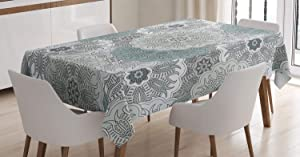 Ambesonne Grey Tablecloth, Tile Art Mandala with Oriental Touch Eastern Style Motif, Rectangular Table Cover for Dining Room Kitchen Decor, 60