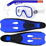 Schnorchelset für Kinder Salvas Cancun, Taucherbrille, Anti-Allergie Silikon, Schwimmflossen, Schnorchel, Tauchset, Blau