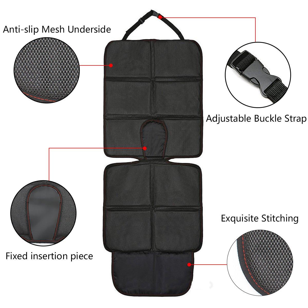Autositzauflage SUPTEMPO Isofix geeignete Kindersitzunterlage wasserabweisend Auto-Kindersitzunterlage Autositzschutz mit 2 Aufbewahrungstasche