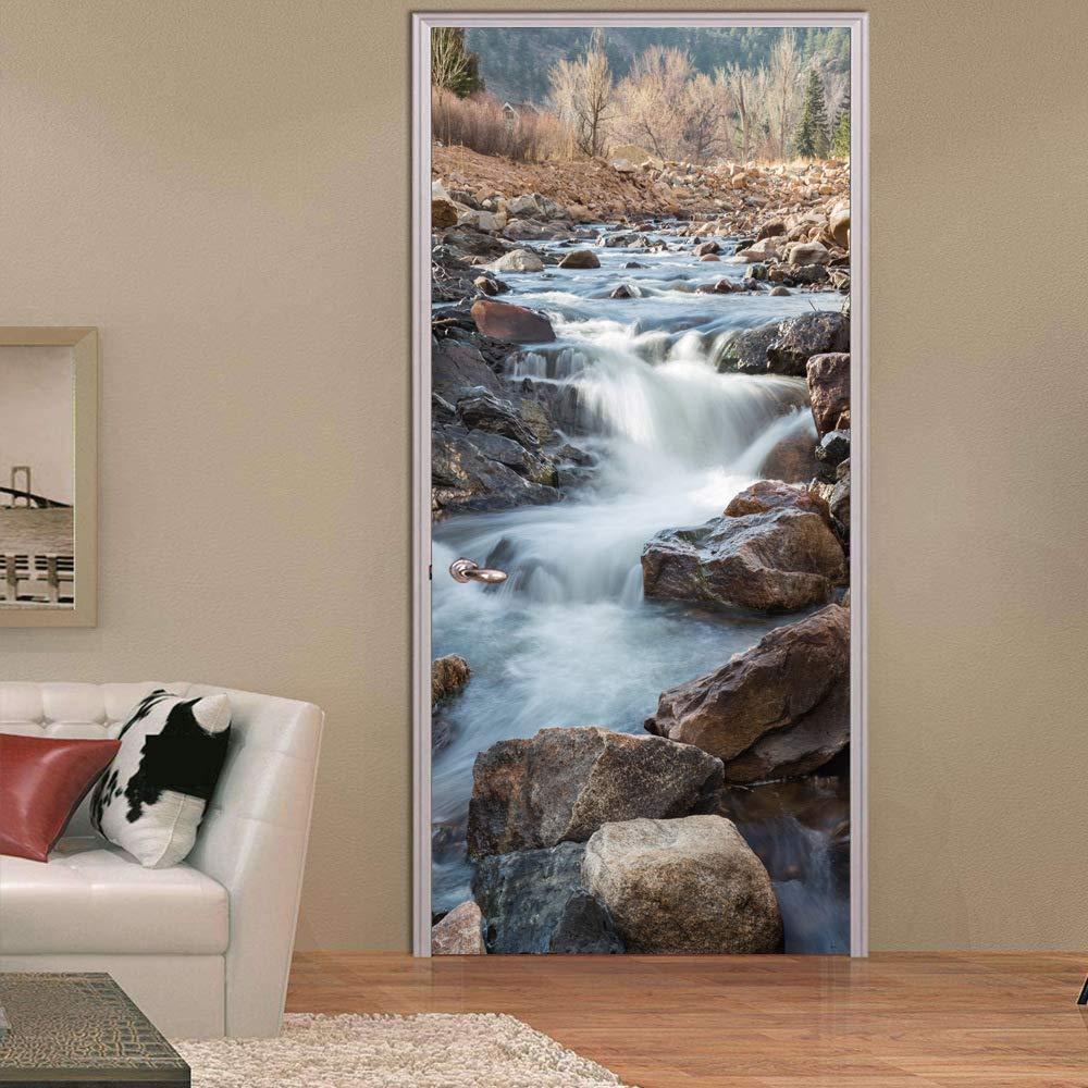 CKIQ Rock Stream Brook Lymph Creativo 3D Paisaje Puerta Pegatinas de Pared Cascada Bosque Mural Impermeable PVC Poster Dormitorio Decoraci/ón para el hogar,77x200cm