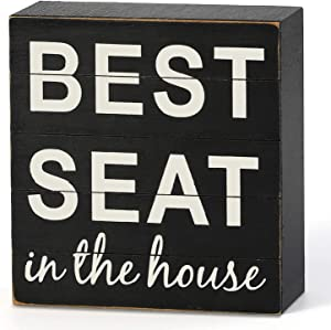 "LEJHOME Bathroom Decor Wall Sign - Classic Wood Box Sign 6"" Square - Best Seat in The House- Farmhouse Funny Rustic Wall Decor Art for Kids Guest Bathroom Decorations"
