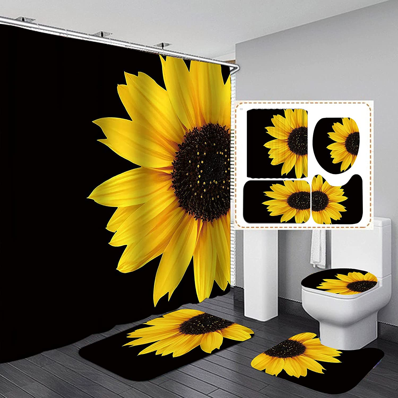 Jayden&Madge 4PCS/Set Sunflower Shower Curtain, Flower Bathroom Set, Waterproof Fabric Polyester Bath Curtain, Non-Slip Bathroom Rugs Toilet Rug Bath Mat, Black Yellow Art Floral Bathroom Decor, Half