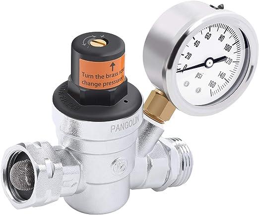 "Amazon.com: PANGOLIN Water Pressure Regulator Valve with 160 PSI Gauge and Inlet Stainless Screened Filter RV Regulator Valve, 3/4"" NH Lead-Free Brass Adjustable Pressure Regulator for RV Camper, 2 Years Warranty: Home Improvement"