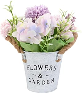 MorNon Artificial Flowers Potted, Artificial Flowers in Metal Potted for House Office Restaurant Table Centerpieces Windowsill, Wedding Party Decor