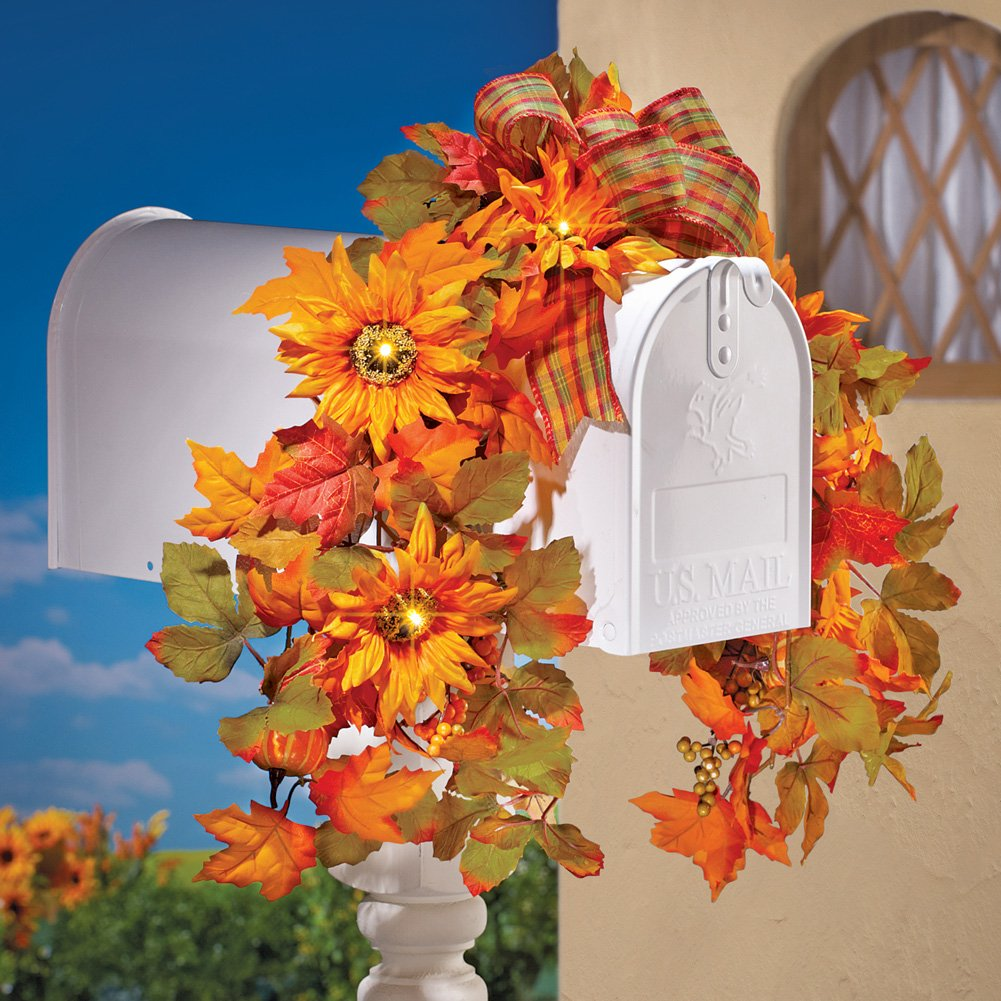 Fall sunflowers Floral Mailbox Decoration with Lights