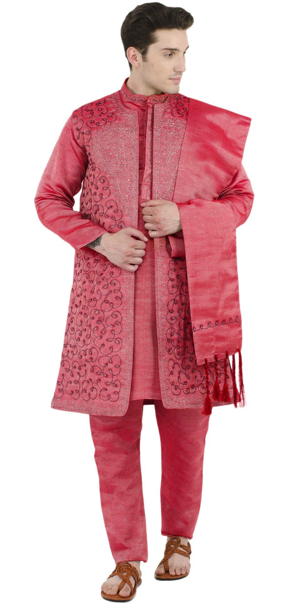 1c5946d23b2 Galleon - Wedding Kurta Pajama Sherwani 4-Pieces Set Men Indian Wear Long  Sleeve Button Down Party Dress -L Red