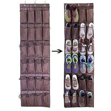 Ueasy 靴収納 ウォールポケット壁掛け式シューラック 狭い スペースで たっぷり 靴や小物の 収納に 24ポケット 6層折りたたみ 吊り下げ  収納ラック フック付き ブラウン