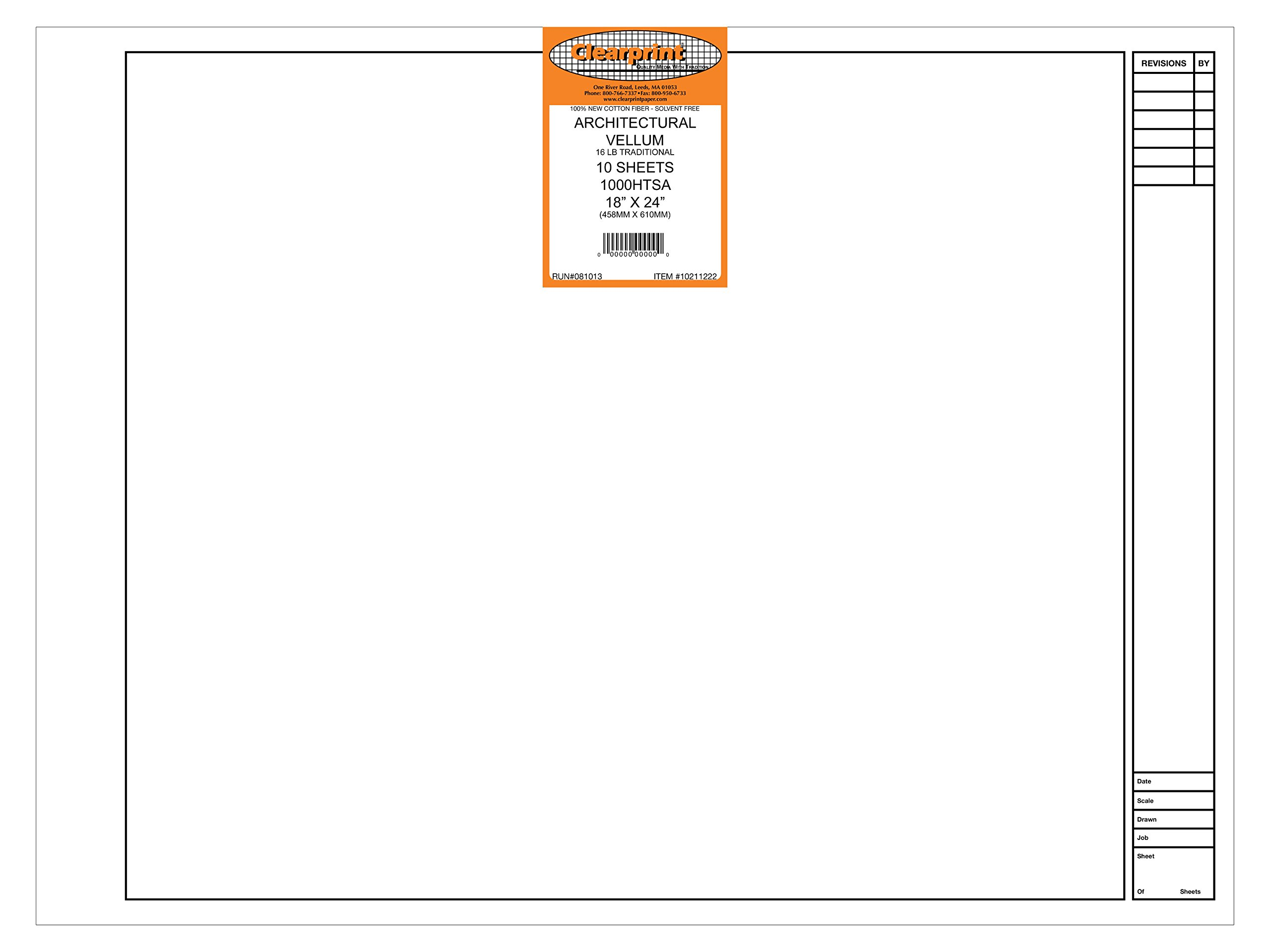 Clearprint 1000H Design Vellum Sheets with Architect Title Block, 16 lb, 100% Cotton, 18 x 24 Inches, 10 Sheets/Pack, Translucent White (10211222)