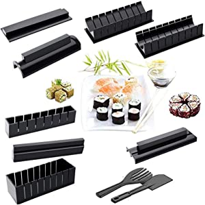 DIY Sushi Making Kit for Beginners, 10Pcs Plastic Sushi Maker Tool Complete with 8 Sushi Rice Roll Mold Shapes 2pcs Fork Spatula DIY Home Sushi Tool Sushi Rice Roll Mold Shapes (Black)