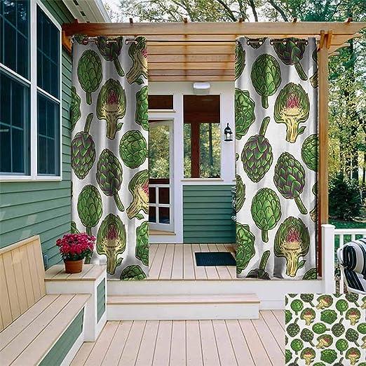 XXANS Cortina de pérgola, diseño de alcachofas Frescas y Verdes Dibujadas a Mano con Pintura de Cosecha de la Naturaleza, Simple, Elegante, Verde Helecho: Amazon.es: Jardín