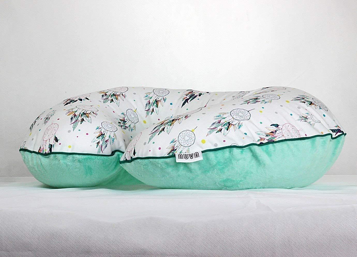 Mint Dreamcatcher Nursing Pillow Cover Handmade Cotton Minky Cover With Zipper