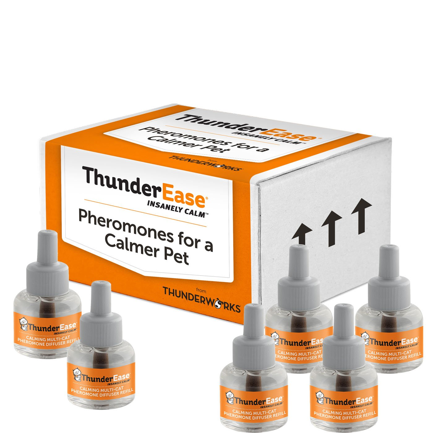 ThunderEase Multicat Calming Pheromone Diffuser Refill | Powered by FELIWAY | Reduce Cat Conflict, Tension and Fighting (180 Day Supply) by ThunderEase