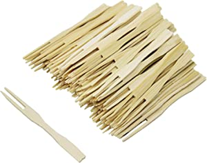 300 Pack Bamboo Forks, BetterJonny Disposable Cutlery Forks Two Prongs Skewers Blunt End Toothpicks Mini Cocktail Tasting Forks Fruit Food Picks for Party, Banquet, Buffet, Catering, and Daily Life