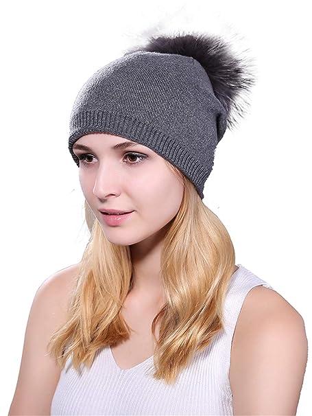 0f754fa8beb Amazon.com  Women Fur Beanie Cap -Winter Knit Cashmere Ski Hats Real Fur  Pom Pom Hat  Clothing