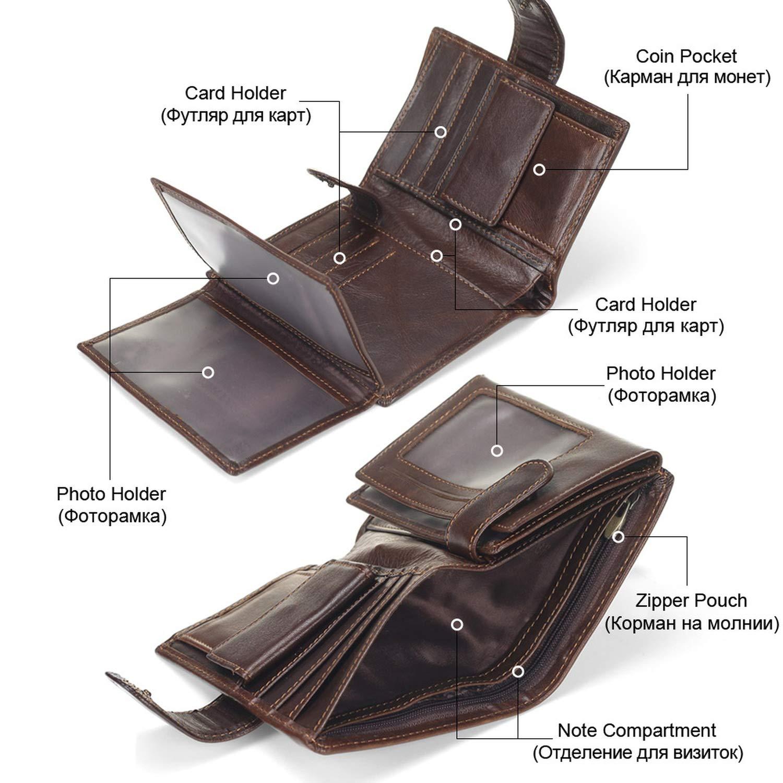 Vintage Men Wallet Genuine Leather Short Wallets Male Multifunctional Cowhide Male Purse Coin Pocket Photo Card Holder