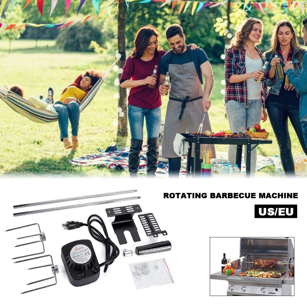 BBQ Flip The Grill Stainless Steel Home Roasting Grill Automatically Flipping Shelf Barbecue Rolling Skewers Outdoor Tools Grey by Bennett