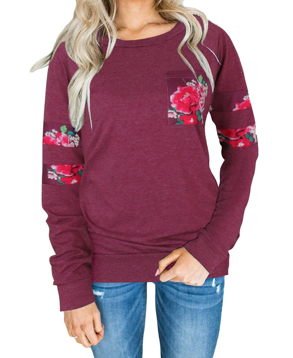 Tomlyws Sweatshirts Long Sleeve Crewneck Casual Loose Pullover Blouse Tops Wine Red L