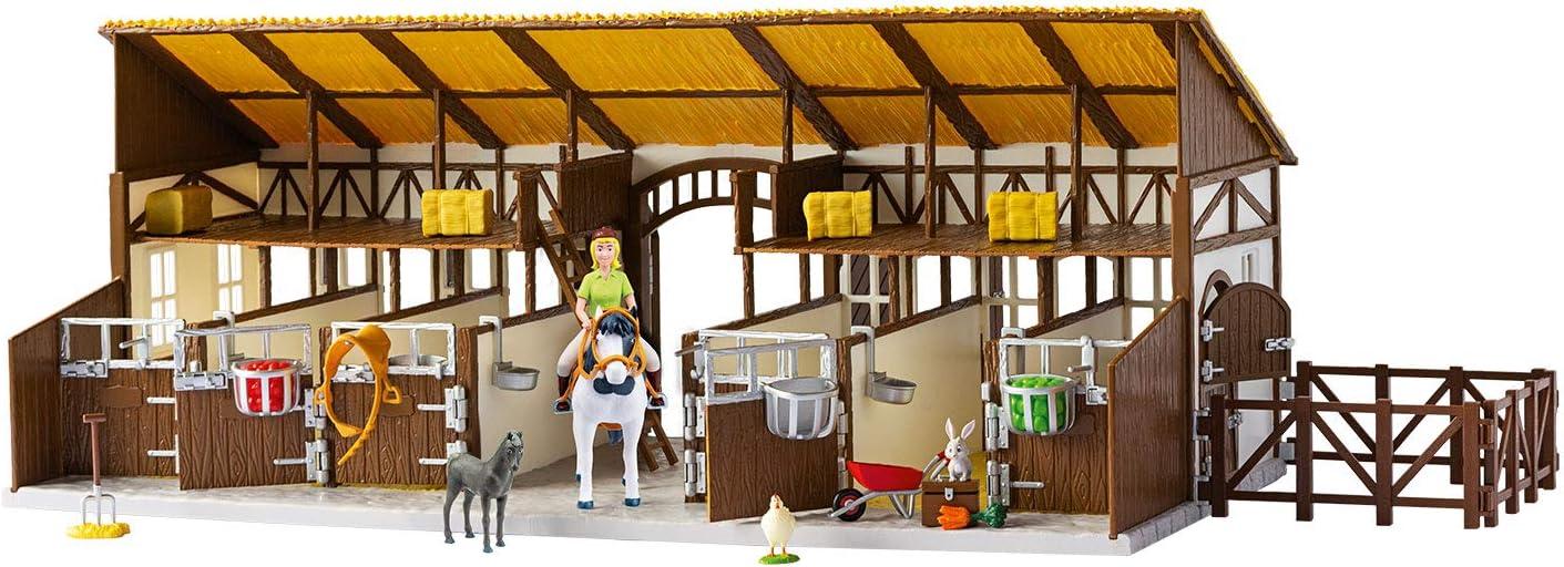 CRAZE- Bibi y Tina Bibi & Tina Establo Grande para Montar a Caballo en Martinshof Incl. Figuras de Juguete y Accesorios 14899, Multicolor