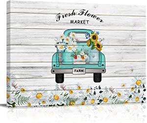 Canvas Wall Art Decor Fresh Flower Market Vintage Truck Sunflower Daisies Pastoral Style Wood Grain Artwork Prints for Walls Ready to Hang for Kitchen Bedroom - Stretched and Framed, 24''x16''