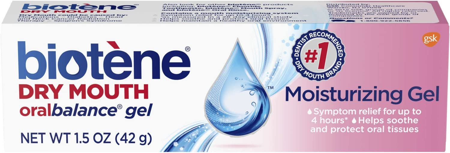 Biotene OralBalance Moisturizing Gel Flavor-Free, Alcohol-Free, for Dry Mouth, 1.5 ounce (Packaging May Vary)