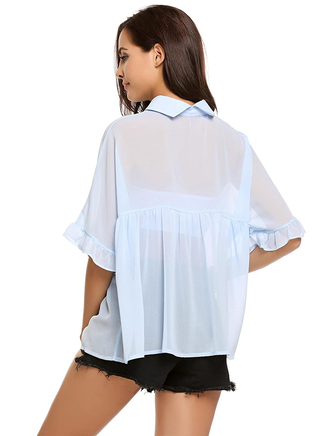 34e4a96073b56 Amazon.com  Zeagoo Women s Half Sleeve Collared Babydoll Tops Casual  Chiffon Blouses   Clothing