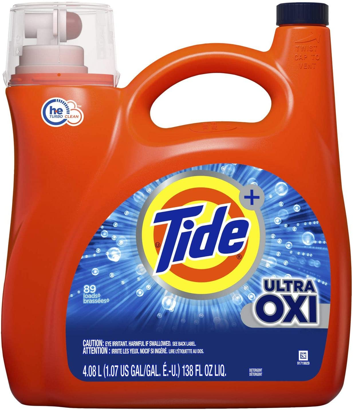 Tide HE Ultra Concentrate, OXI + Plus Advanced Power, Extra Stain Removal Whites & Color, 150 Fl.Oz - 81 Loads - More Power Per Drop