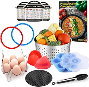 3 Quart Instant Pot Accessories with Electric Pressure Cooker Recipe Cookbook – Steamer Basket, Sealing Ring, Magnetic Cheat Sheet, Egg Bites Mold, Steam Rack, Food Tongs, Silicone Mat, Mitts