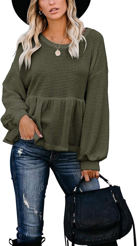 ADREAMLY Womens Ruffle Hem Peplum Lantern Long Sleeve Waffle Knit Top Oversized Pullover Sweater