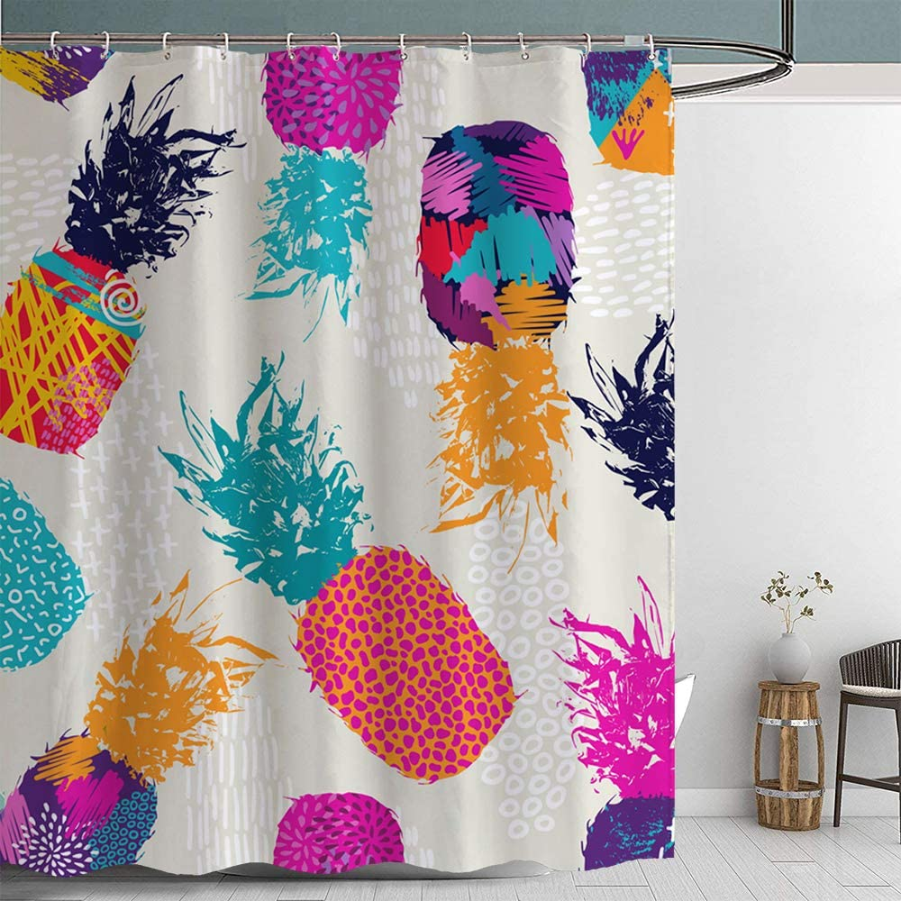 Jamehome Colorful Pineapple Shower Curtain Tropic Waterful Fabric Bathroom Decorations Home Decor Set 72x72 Inch 12 Plastic Hooks