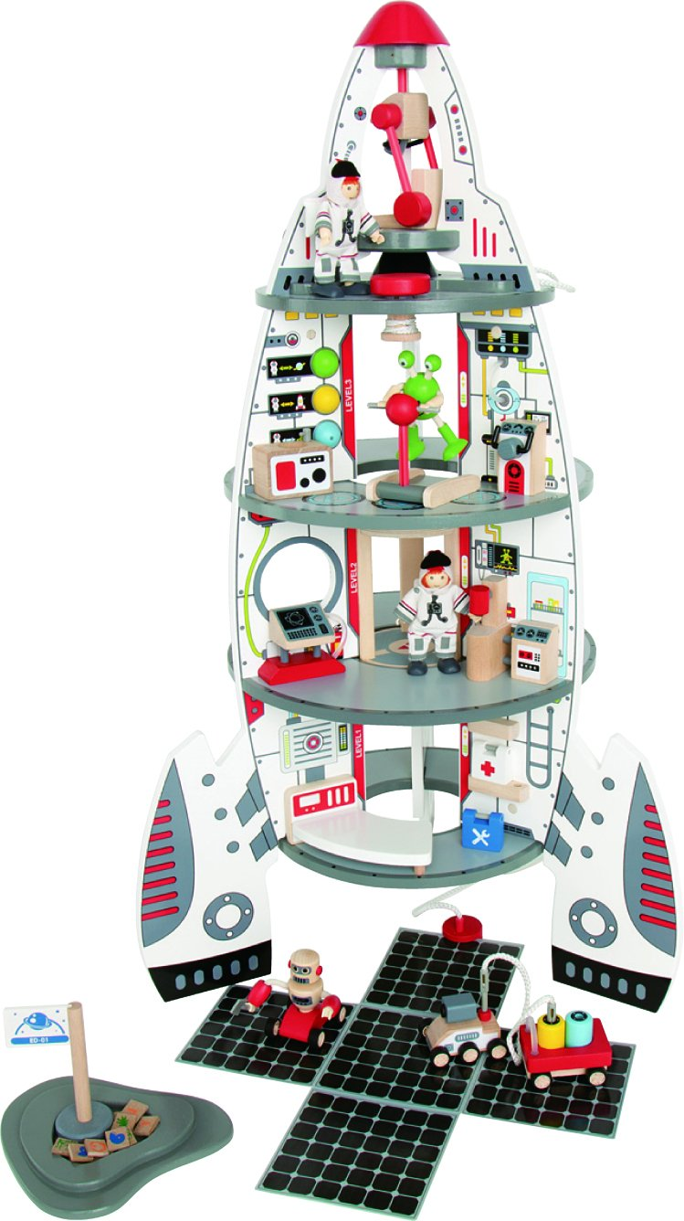 Hape - Amazon Exclusive - Discovery Space Center Kid's Wooden Playscape Set with Accessories