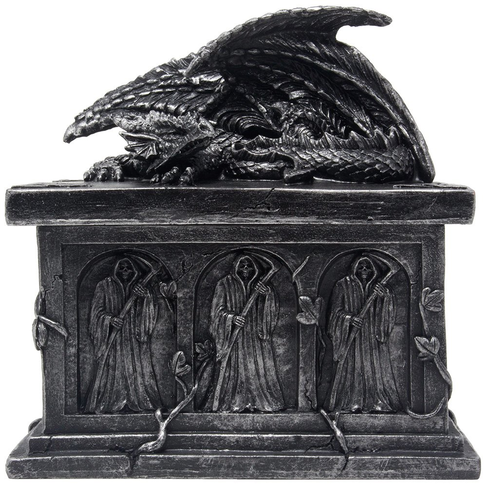 Mythical Guardian Dragon on Tomb Trinket Box in Metallic Look with Grim Reaper's Crypt and Hidden Storage Compartment for Decorative Gothic & Medieval Home Decor As Jewelry Boxes or Fantasy Gifts