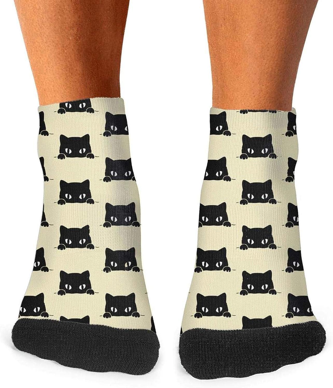 Floowyerion Mens Cat black cat kitten meow Novelty Sports Socks Crazy Funny Crew Tube Socks